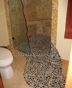 Dark Ocean Pebble Tile Shower Accent