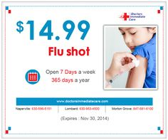 Doctors Immediate Care announces $14.99 Flu Shots offer by reducing previous offer on Flu shots $19.99 per shot and extends the offer duration until November 30th, 2014 for the benefit of the valued customers.