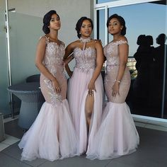 2018 Modest African Bridesmaid Dresses Long Mixed Style Appliqued Lace Tulle Split Side Slit Custom Made Maid Of Honor Bridesmaids Gowns