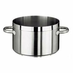 """Paderno World Cuisine """"Grand Gourmet"""" Stainless-steel 2-1/4-Quart Sauce Pot by Paderno World Cuisine. $117.45. Induction ready. Lid not included. NSF Approved. Compatible with all heat sources. Welded handles. This 2-1/4-quart stainless-steel sauce pot has a height of 4-3/8-inch and a diameter of 6-1/4-inch. The Grand Gourmet series boasts an outer and inner satin polish and a mirror-finish along the edges. Its stainless steel handles are hollow and tubular for an ergonomic ..."""