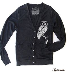 Unisex OWL Tri-Blend Cardigan  American apparel XS S by ZenThreads