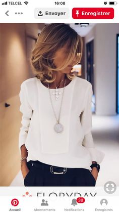 Making an investment in a nice blouse with navy or black trousers this Winter with a belt and matching 30 statement necklaces is a perfect work or meeting outfit. Simple and chic. Fashion Mode, Work Fashion, Womens Fashion, Fashion Trends, Fashion Ideas, White Fashion, Cheap Fashion, Fashion Styles, Luxury Fashion