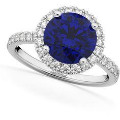 Allurez Halo Blue Sapphire & Diamond Engagement Ring 14K White Gold... ($5,840) ❤ liked on Polyvore featuring jewelry, rings, white gold, diamond jewelry, blue sapphire ring, 14 karat gold ring, engagement rings and 14 karat diamond ring