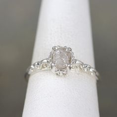 Raw Uncut Rough Diamond Solitaire and Sterling by ASecondTime