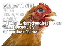 """VOTE NOW!  SPREAD THE WORD!  Go to: http://barrelvote.bgpride.org  """"When Roosters Cry""""  4th one down, 1st row  Enter your email, Click the link from noreply@bgpride.org."""