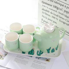 Porcelain Teapot and Cups In One Tea Pot Set, Pot Sets, Cute Kitchen, Kitchen Items, Cute Coffee Mugs, Tea Mugs, Kawaii Room, Cute Cups, Porcelain Ceramics