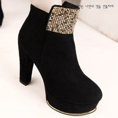 X55701 Kvoll Trendy Metal Rhinestone Mesh Ornament High-heeled Short Boots Black