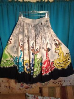 Vintage 1950s Mexican Hand Painted Circle Skirt