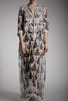 Embellished Long Silk Chiffon Kurta - Resort | Luxury Resort Wear - Marie France Van Damme