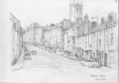 The Bank - Barnard Castle = pencil sketch by Malcolm Coils Barnard Castle, Cathedral, Sketch, Pencil, Snow, Building, Travel, Outdoor, Sketch Drawing