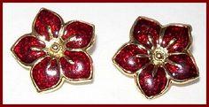 Vintage Poinsettia Clip Earrings Red Enamel by BrightgemsTreasures, $6.50