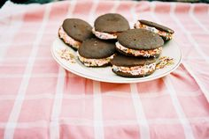 Equally perfect in July and December: Chocolate Peppermint Whoopie Pies with Marshmallow Cream Cheese Filling.