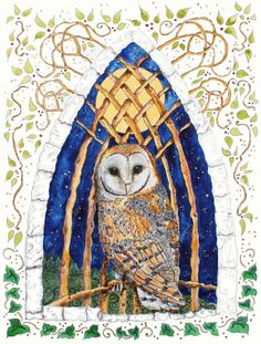 Merlins Owl and the moon is a print from an original painting by Ruthie, As we wandered through the ancient woodland out of time and out of place