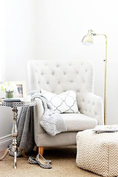 A Home With Heart: Courtney of A Thoughtful Place - withHEART. A Home With Heart: Courtney of A Thoughtful Place - withHEART. Living Room Decor Ideas Click image for more details. Home Bedroom, Bedroom Decor, Bedroom Corner, Bedroom Nook, Bedroom Furniture, Bedroom Seating, Entryway Decor, Bedroom Pics, Bedroom Lighting
