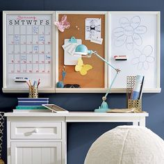 Study Wall Boards - White Frame Triple | PBteen DIY idea?