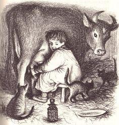 Garth Williams' illustration of Almanzo milking the cows in Farmer Boy. I love Garth Williams. Garth Williams, Wilder Book, Milk The Cow, Laura Ingalls Wilder, Children's Book Illustration, Book Illustrations, Art Graphique, Children's Literature, Childrens Books