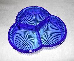 ColbaLt blue depression glass