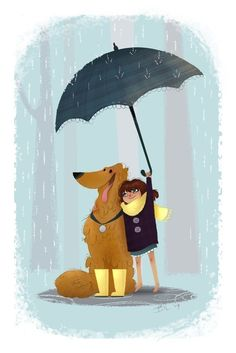 rain, dog, friend, girl, boots, umbrella, yellow and turquoise