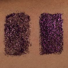 Lit Cosmetics Glitter Pigment I Feel Love S3 swatch on dark, deep complexion.