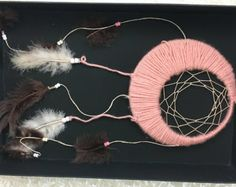 Pink Crescent Moon Dreamcatcher Boho Chic by AlkaiasBoutique