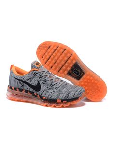 Nike Men's Air MAX Flyknit Runing Shoes Grey and Orange 408D