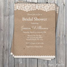 Lace Rustic Bridal Shower Invitation Adult party by YuyaPaperie, $14.95