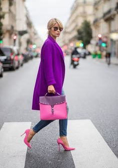 Purple Fashion, Colorful Fashion, Look Fashion, Autumn Fashion, Fashion Outfits, Womens Fashion, Fashion Trends, Fashion Photo, Fashion 2018