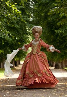"""Reproduction robe à la française. 18thC inspired costume from the """"Gustavian"""" era 1768-1792 . (c) Duran Textiles. Swedish 18th century textiles reconstructed in India then costumes fashioned in Sweden."""