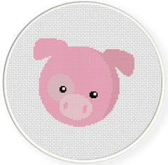 Charts Club Members Only: Pig Head Cross Stitch Pattern