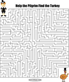 View and print this Hard Maze Thanksgiving. Get your free printable mazes at All Kids Network Thanksgiving Crafts For Kids, Thanksgiving Parties, Thanksgiving Activities, Holiday Activities, Fun Activities, Library Activities, Mazes For Kids Printable, Free Printable, Coloring Pages For Kids