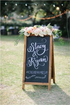 backyard chalkboard wedding sign /  / http://www.deerpearlflowers.com/chalkboard-wedding-ideas/