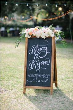 backyard chalkboard wedding sign /  / http://www.deerpearlflowers.com/chalkboard-wedding-ideas/