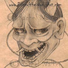 Hanya Sketch, print, Japan, yokai, folklore, creature, demon, scroned woman, kabuki mask, wood texture, creepy, pencil drawing Rachel Walker by EdgeoftheWorldArt on Etsy
