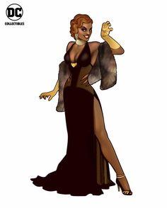 black_dress choker cleavage copyright_name dark_skin dc_comics dress earrings eyeshadow formal full_body gloves halter_neck high_heels jewelry lipstick make-up mari_jiwe_mccabe shawl side_slit simple_background solo standing teeth vixen_(dc) yellow_gloves Superhero Dress, Superhero Cosplay, My Superhero, Comic Book Artists, Comic Book Characters, Comic Character, Character Reference, Character Design, Female Superheroes And Villains
