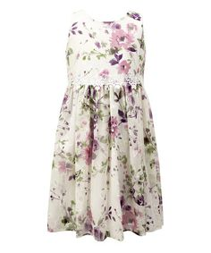 Another great find on #zulily! White & Purple Floral Lace-Accent A-Line Dress - Toddler & Girls #zulilyfinds