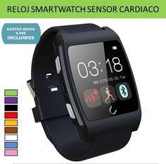 Smartwatch reloj inteligente deportivo sensor ritmo cardiaco compatible con moviles Android.
