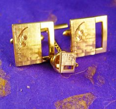 These cufflinks are elegantly designed, gold filled with a matching tie tack and chain. Perfect for wedding or formal attire wear. Crafted By