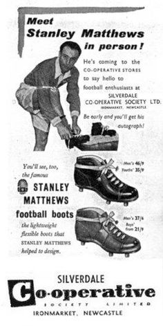 Stanley Matthews of Blackpool advertises Silverdale Football Boots in School Football, Football Soccer, Nike Soccer, Football Players, Football Cards, Soccer Boots, Football Boots, Stanley Matthews, Fashion Clothes