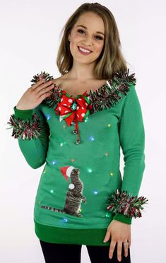 aa61bd81b2 Adorable cat ugly sweater with LED lights, garland, detailed jingle bow and  curious cat