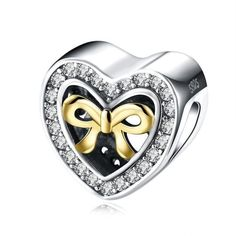 AZIZ BEKKAOUI 925 Sterling Silver Love Heart Beads Fit Pandora Bracelet Necklace Crystal Unique Diy Heart Charm Best Gift