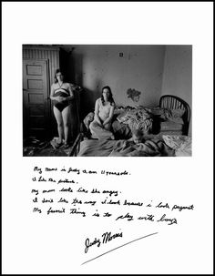"""Jim Goldberg, """"My name is Judy and I am 11 years old. I like the picture. My mom looks like she angry. I don't like the way I look because I look pregnat. My favorite thing is to play with boys."""", San Francisco, from Rich and Poor Modern Photography, Photography Projects, Image Photography, Andre Kertesz, Jim Goldberg, Collages, Photo Sketch, Photographer Portfolio, Album Design"""