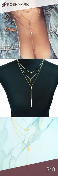 5 for $25 Three Layer Necklace Gold Color Three Layer Necklace Jewelry Necklaces