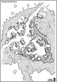 Map of the village of Drakenfort Fantasy Map Making, Fantasy City Map, Fantasy Rpg, Medieval Fantasy, Fantasy World, Village Map, Rpg Map, Building Map, Map Maker