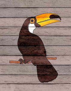 # Toucan art Bird print decor Toucan bird art faux by PrintCorner