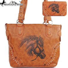 Montana West Cow Girl Horse Pint Handbag in Brown Western Shoulder Purse with Wallet $69.95
