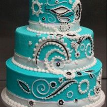 Turquoise Paisley Wedding Cake Decorated By Leslie Schoenecker At Wal Mart