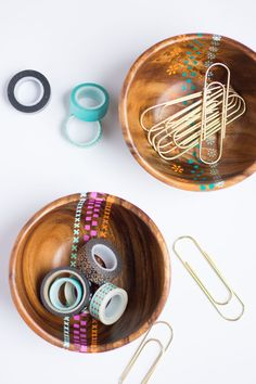 Thrifty DIY: Painted Wood Bowls