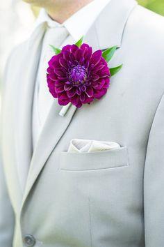 Fabulous purple dahlia boutonniere!