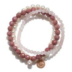 Bonyak Jewelry 18 Inch Rhodium Plated Necklace w// 4mm Light Rose Pink October Birth Month Stone Beads /& Blessed Caroline Gerhardinger Charm