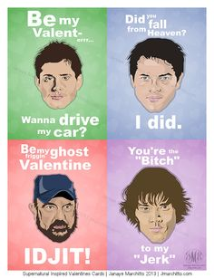 @Sacelia Strong-Sangster Strong, look!  Set of 4 Supernatural Inspired Valentine by jmarchitto on Etsy, $8.00